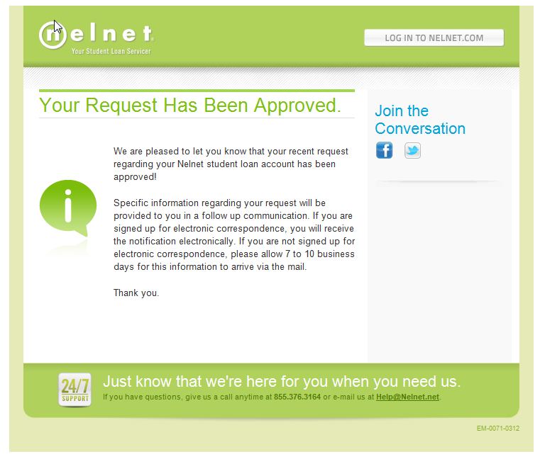 Borrower Experience: Email Confirmations for Deferment